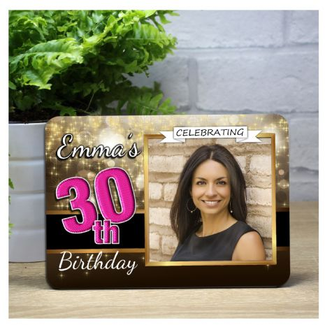 Personalised Happy Birthday Black & Gold Sparkle Wood Photo Panel F9 - Any Age